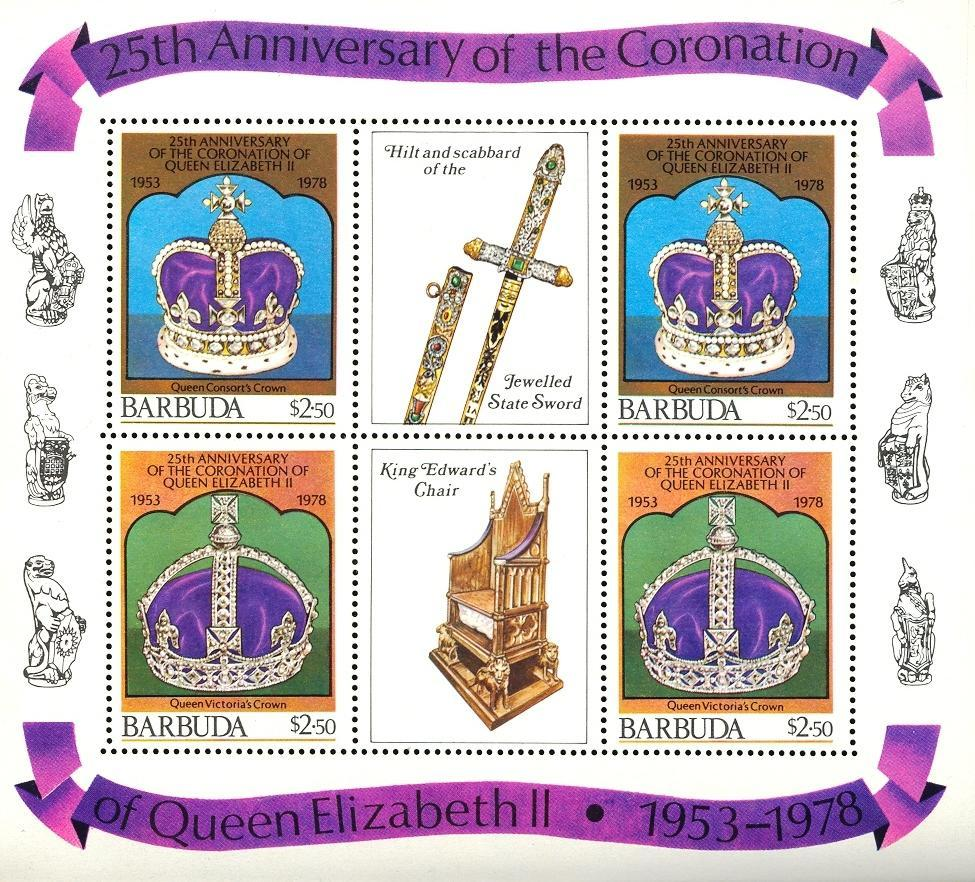 Stamps with Royalty, Crown from Barbuda (image for product #030488)