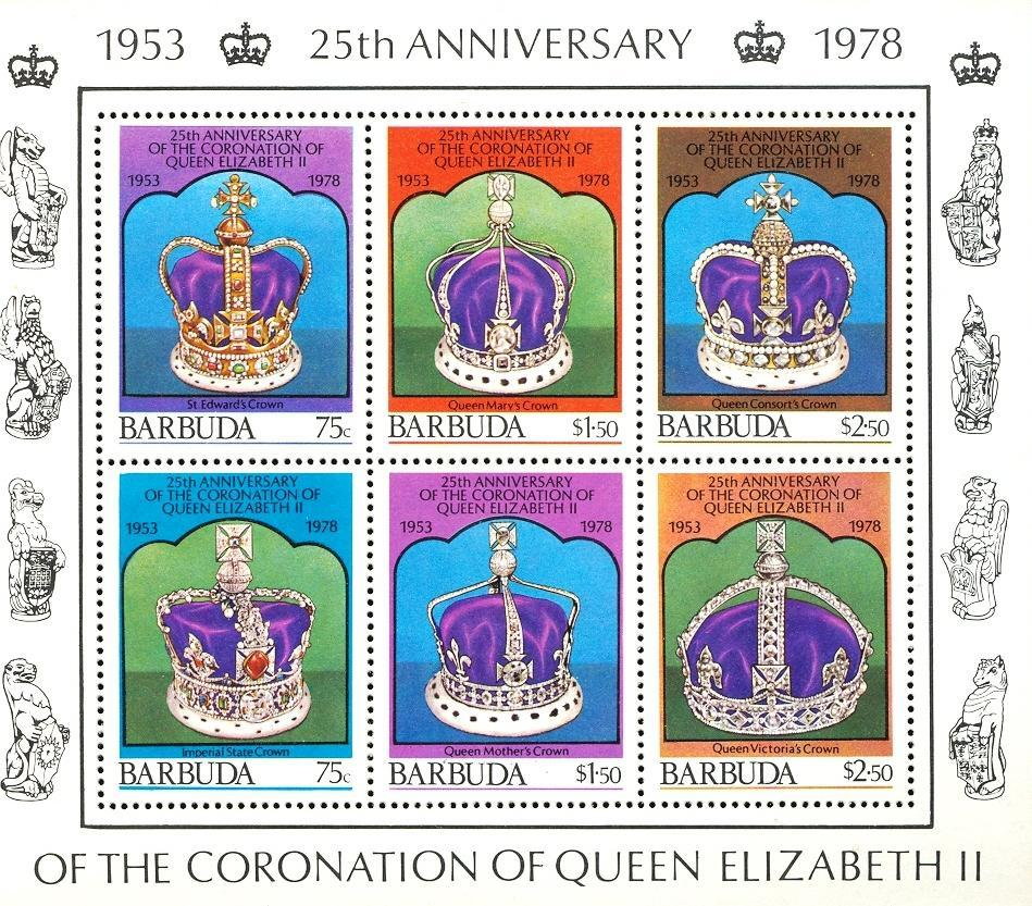 Stamps with Royalty, Crown from Barbuda (image for product #030489)