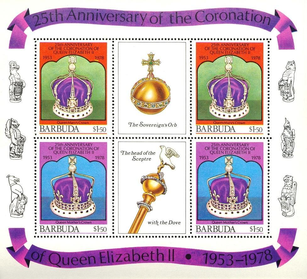 Stamps with Crown, Royalty from Barbuda (image for product #030490)