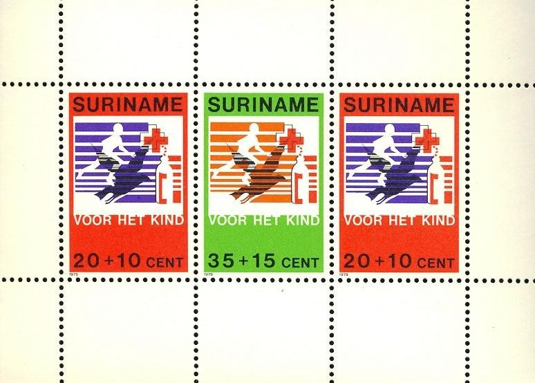 Stamps with Bird, Red Cross from Suriname (image for product #030493)