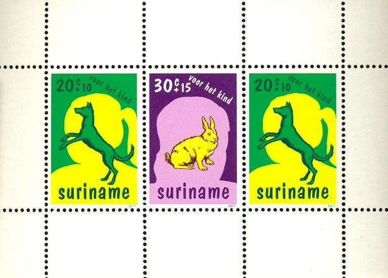 Stamps with Dogs, Rabbit / Hare from Suriname (image for product #030497)