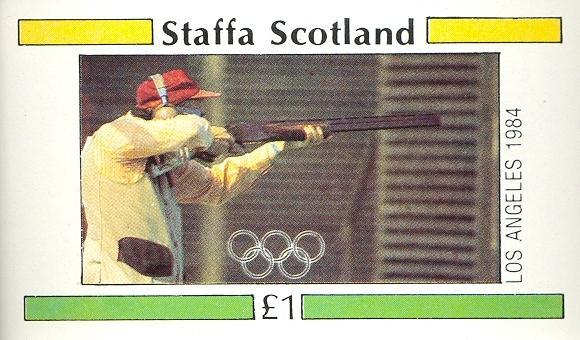 Stamps with Olympic Games, Shooting from Staffa (non official) (image for product #030499)