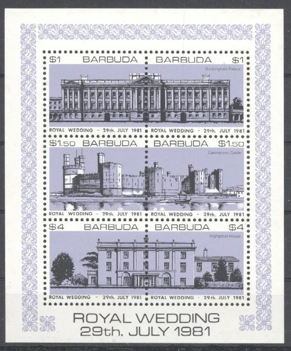 Stamps with Architecture, Royalty, Castles, Wedding from Barbuda (image for product #030525)