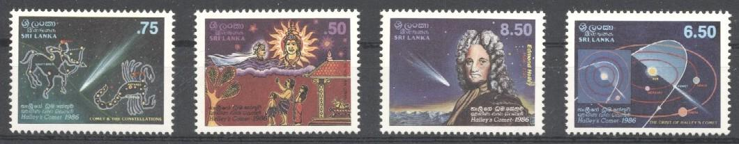 Stamps with Halley Comet, Space from Sri Lanka (image for product #030526)