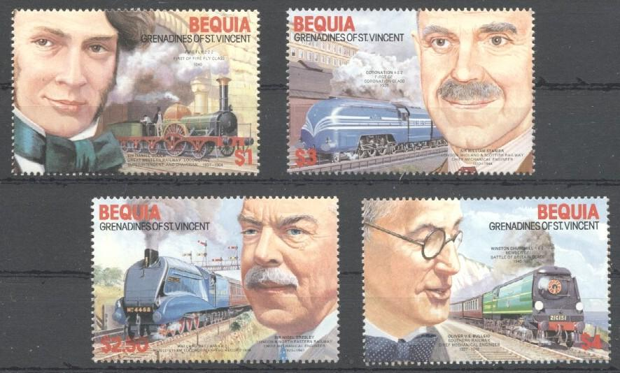 Stamps with Train / Railway from Bequia (image for product #030534)