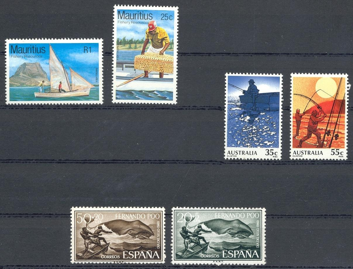 Stamps with Bird, Ship, Fishing, Whale from World (image for product #030583)
