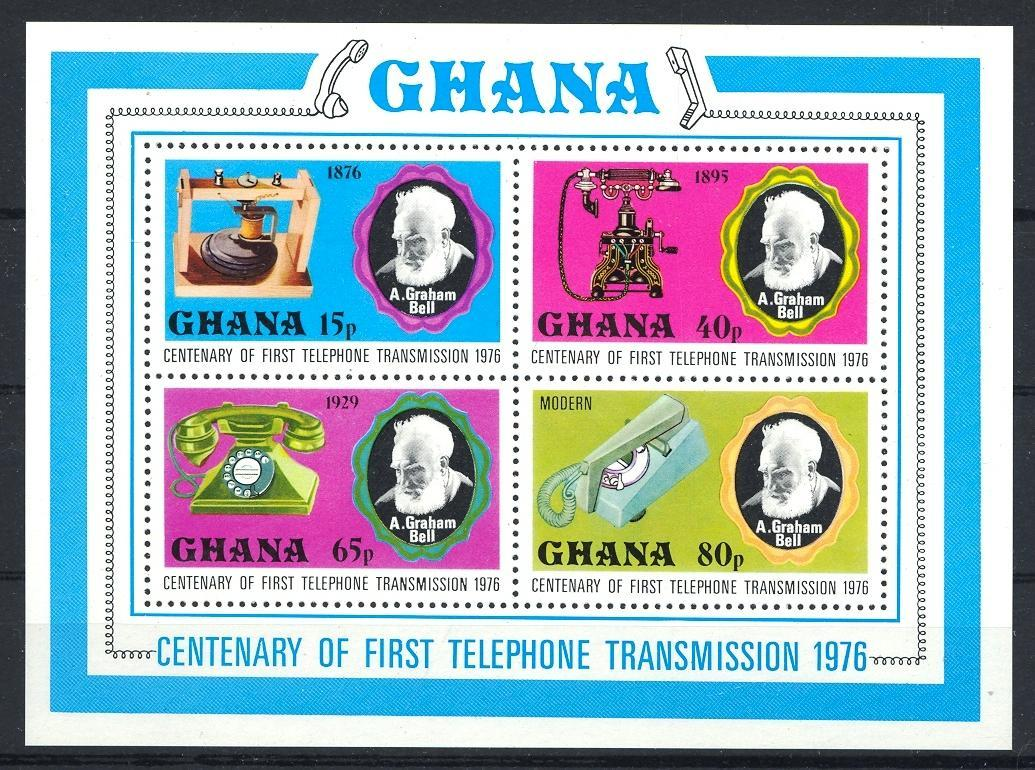 Stamps with Telecommunication, Telephone, Bell (Graham) from Ghana (image for product #030792)