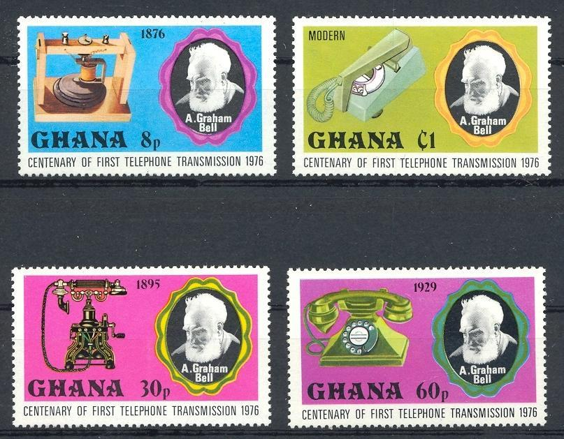 Stamps with Bell (Graham), Telecommunication, Telephone from Ghana (image for product #030793)