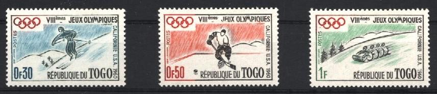 Stamps with Olympic Games, Icehockey, Bobsleigh, Ski from Togo (image for product #031316)