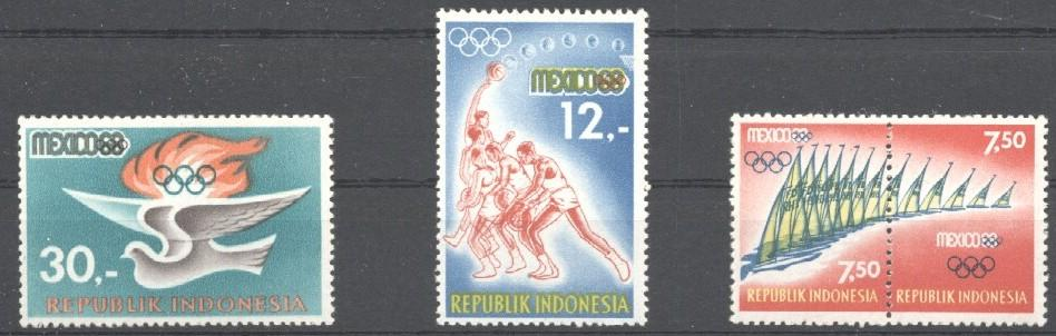 Stamps with Olympic Games, Sailing from Indonesia (image for product #031413)