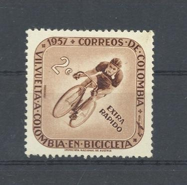 Stamps with Bicycle from Colombia (image for product #031483)