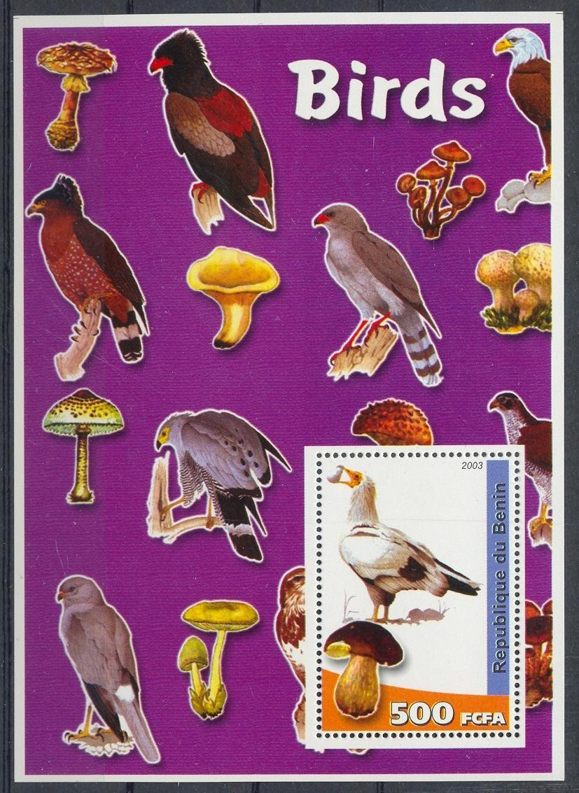 Stamps with Bird, Mushrooms from Benin (non official) (image for product #032298)
