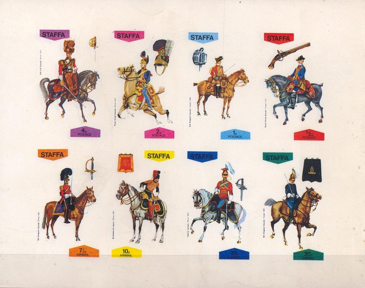 Stamps with Horse, Weapons, Soldier, Uniform, Helmet from Staffa (non official) (image for product #032344)