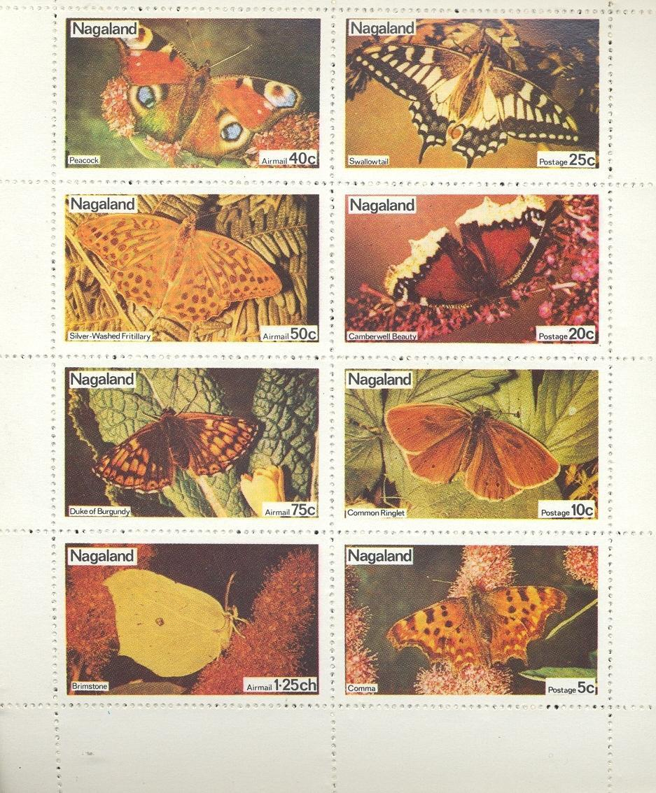 Stamps with Butterflies from Nagaland (non official) (image for product #032346)