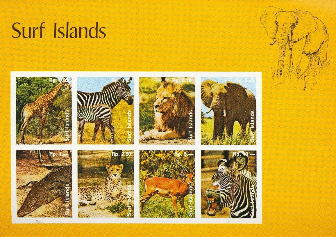 Stamps with Crocodile, Elephants, Lion, Zebra, Giraf from Surf Islands (non official) (image for product #032356)