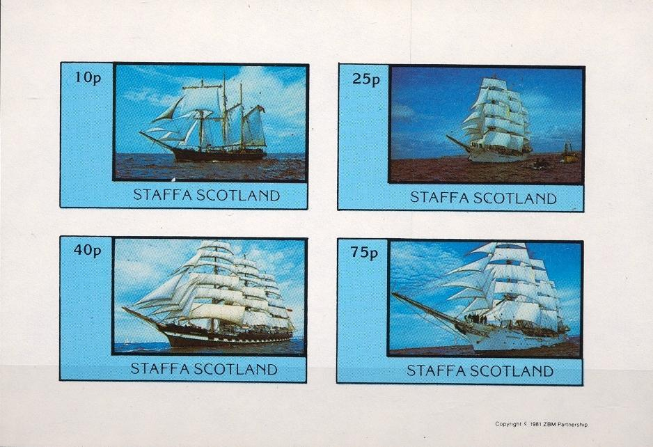 Stamps with Sailing, Ship from Staffa (non official) (image for product #032400)