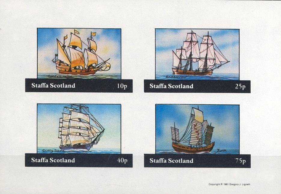 Stamps with Ship, Sailing Ship from Staffa (non official) (image for product #032411)
