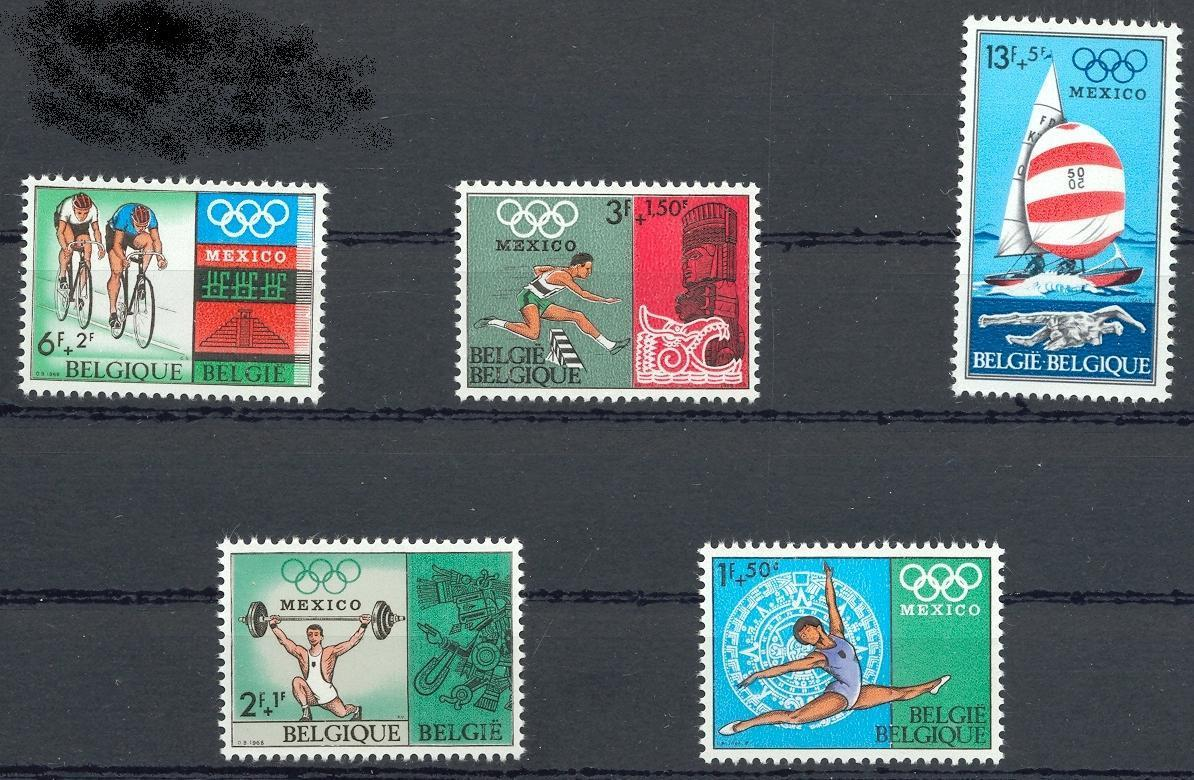 Stamps with Olympic Games, Bicycle, Gymnastics, Weightlifting, Sailing from Belgium (image for product #032615)