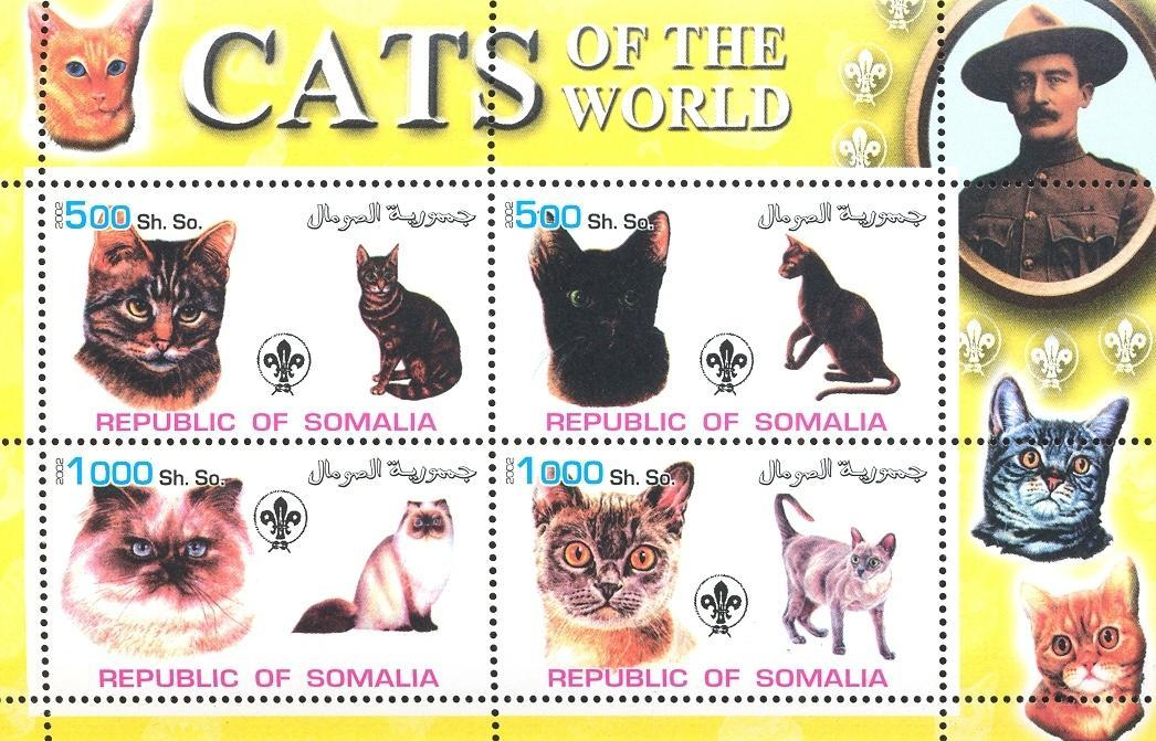 Stamps with Scouting, Baden Powell, Cats from Somalia (non official) (image for product #032621)