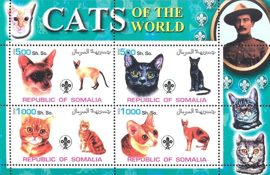 Stamps with Baden Powell, Cats, Scouting from Somalia (non official) (image for product #032622)