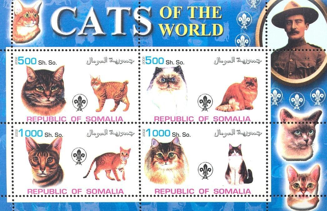 Stamps with Scouting, Cats, Baden Powell from Somalia (non official) (image for product #032625)