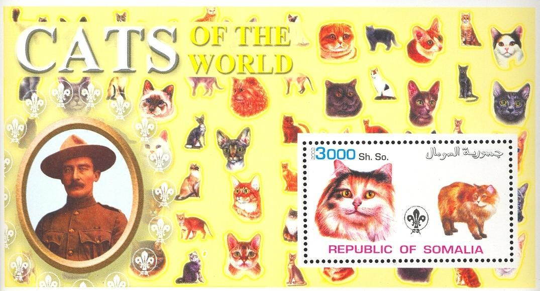 Stamps with Scouting, Cats, Baden Powell from Somalia (non official) (image for product #032627)
