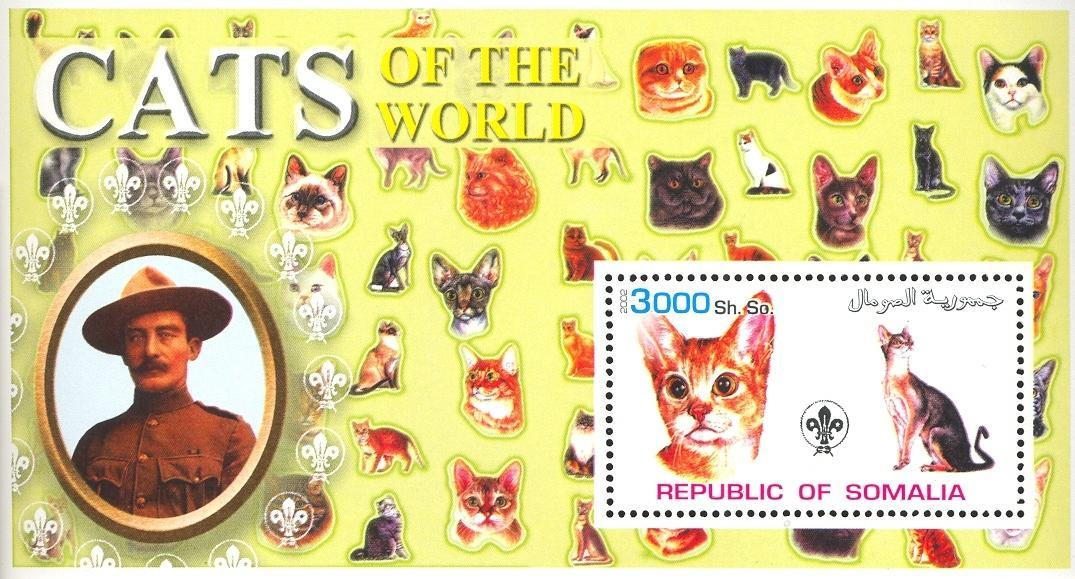 Stamps with Scouting, Cats, Baden Powell from Somalia (non official) (image for product #032628)