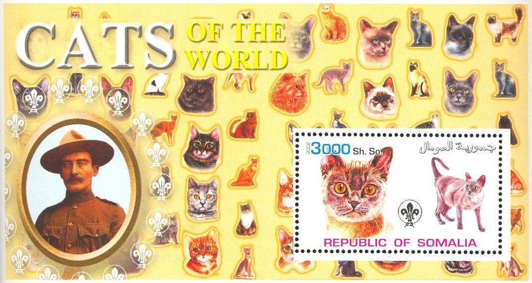 Stamps with Scouting, Cats, Baden Powell from Somalia (non official) (image for product #032629)