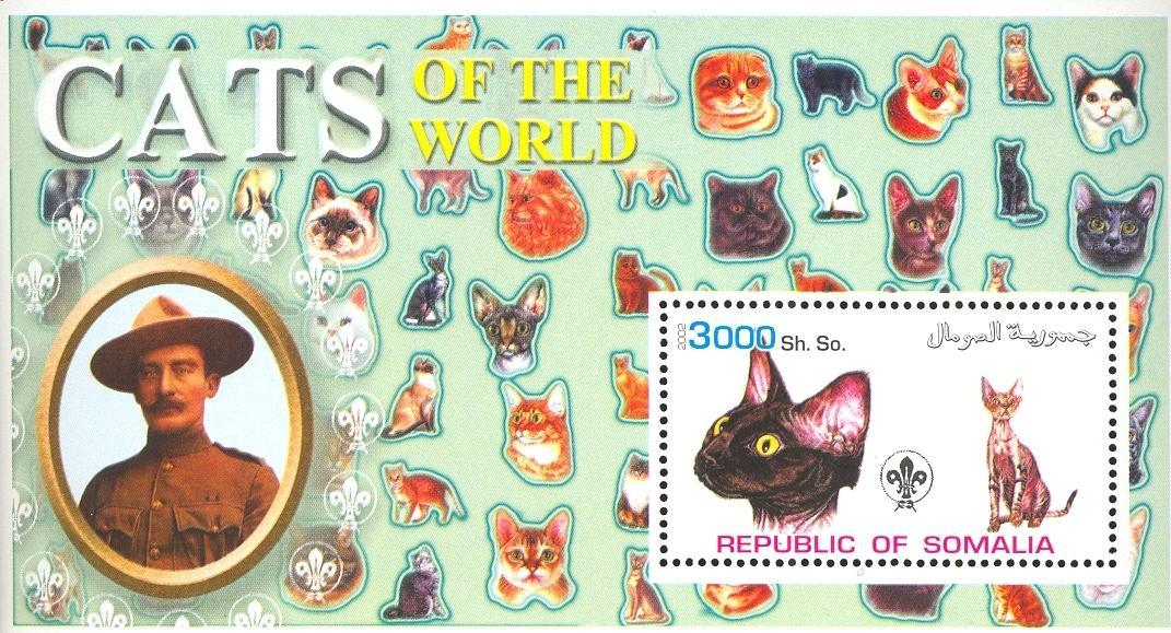 Stamps with Scouting, Cats, Baden Powell from Somalia (non official) (image for product #032633)
