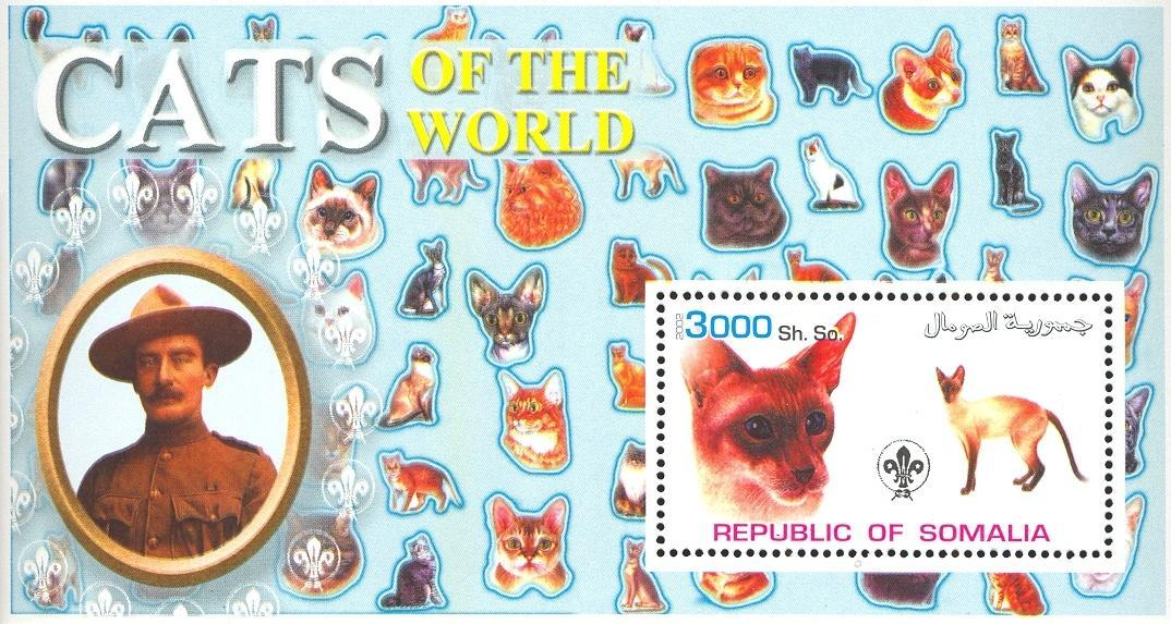 Stamps with Scouting, Cats, Baden Powell from Somalia (non official) (image for product #032634)