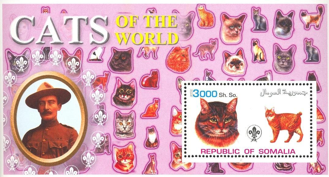 Stamps with Baden Powell, Cats, Scouting from Somalia (non official) (image for product #032635)