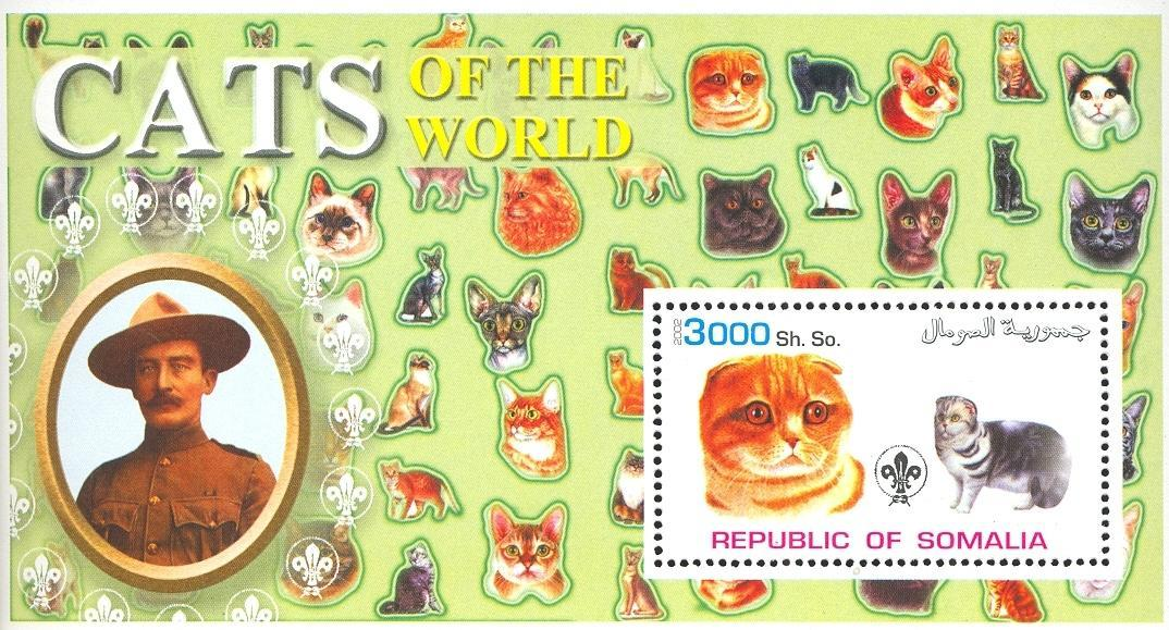 Stamps with Scouting, Cats, Baden Powell from Somalia (non official) (image for product #032636)
