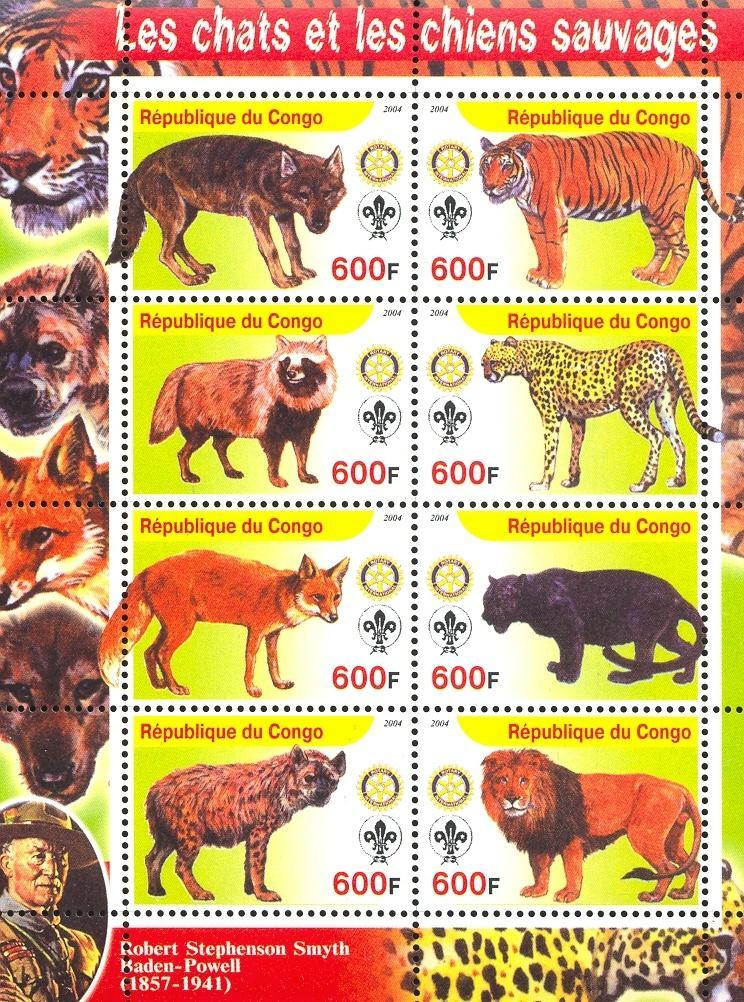 Stamps with Scouting, Dogs, Tiger, Cats Wild, Rotary, Fox, Lion from Congo (non official) (image for product #032641)