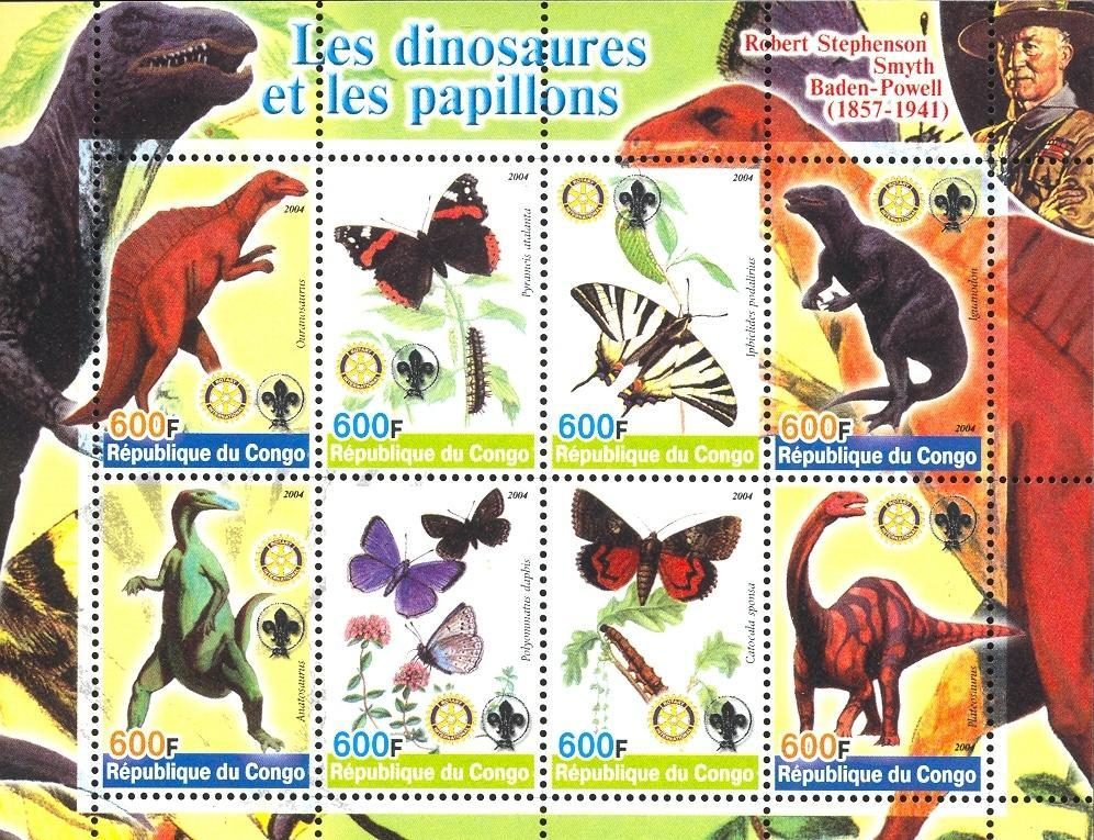 Stamps with Scouting, Dinosaurs, Butterflies, Rotary, Baden Powell from Congo (non official) (image for product #032642)