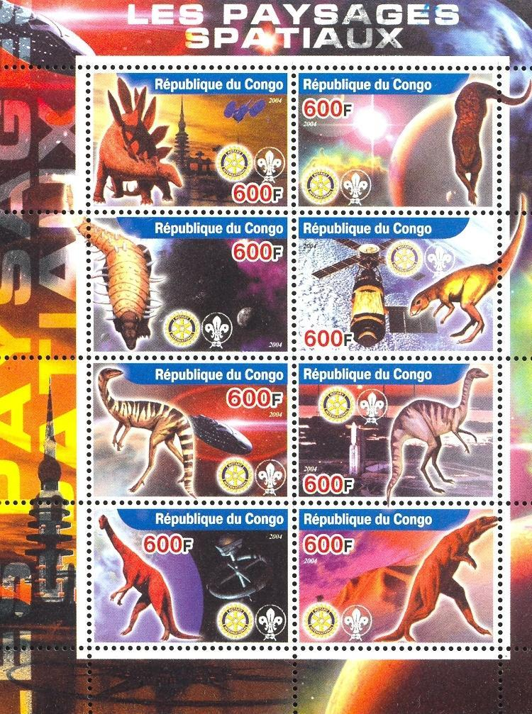 Stamps with Space, Scouting, Dinosaurs, Rotary from Congo (non official) (image for product #032644)
