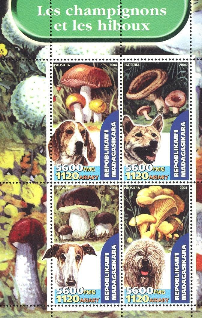 Stamps with Dogs, Mushrooms from Madagascar (non official) (image for product #032652)