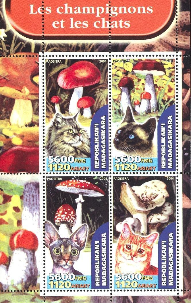 Stamps with Mushrooms, Cats from Madagascar (non official) (image for product #032654)