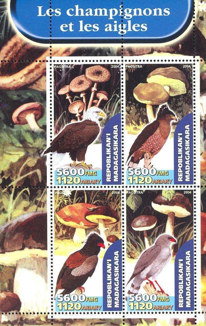 Stamps with Bird, Mushrooms from Madagascar (image for product #032655)