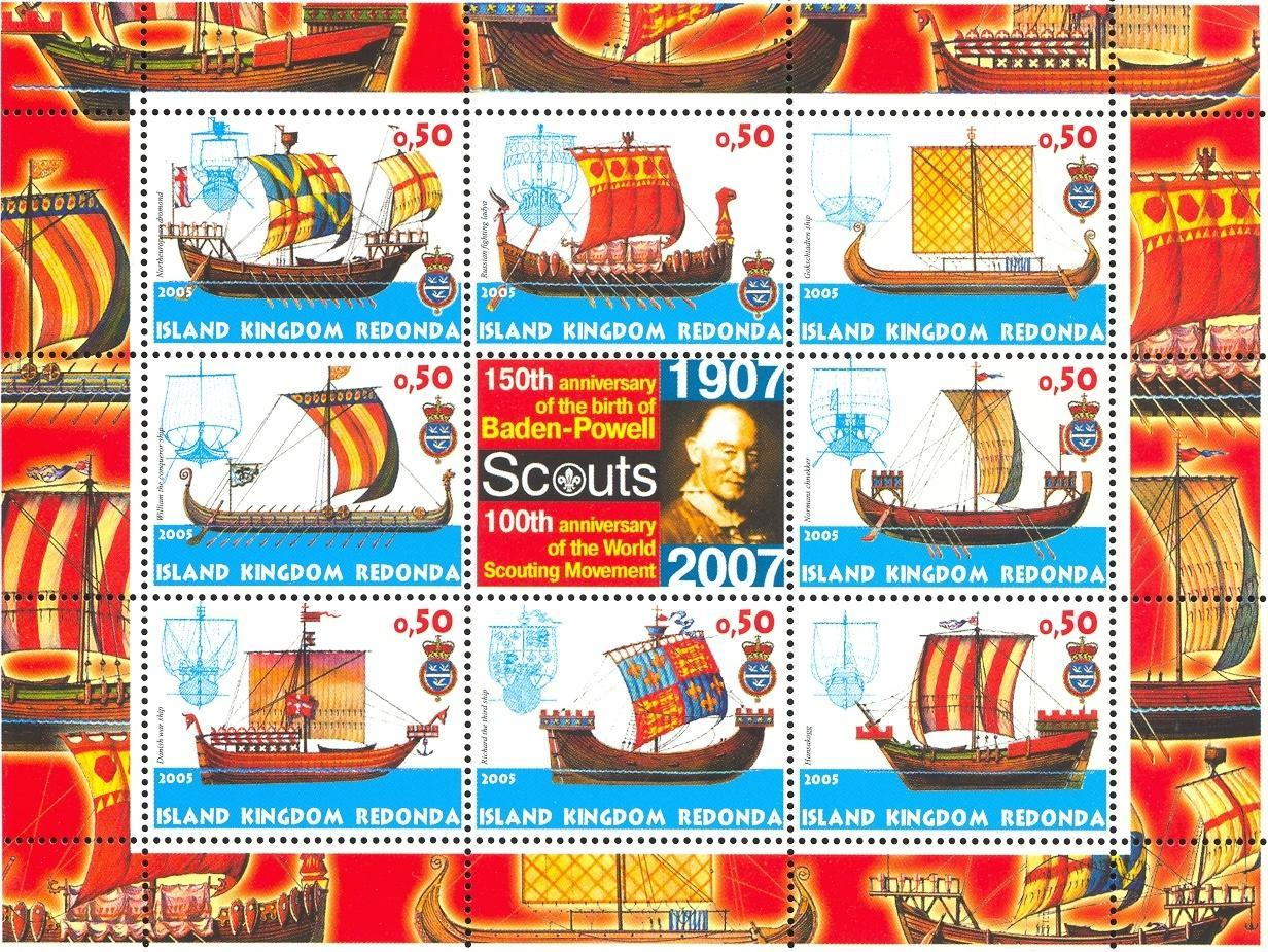 Stamps with Baden Powell, Scouting, Ship from Redonda (image for product #032658)