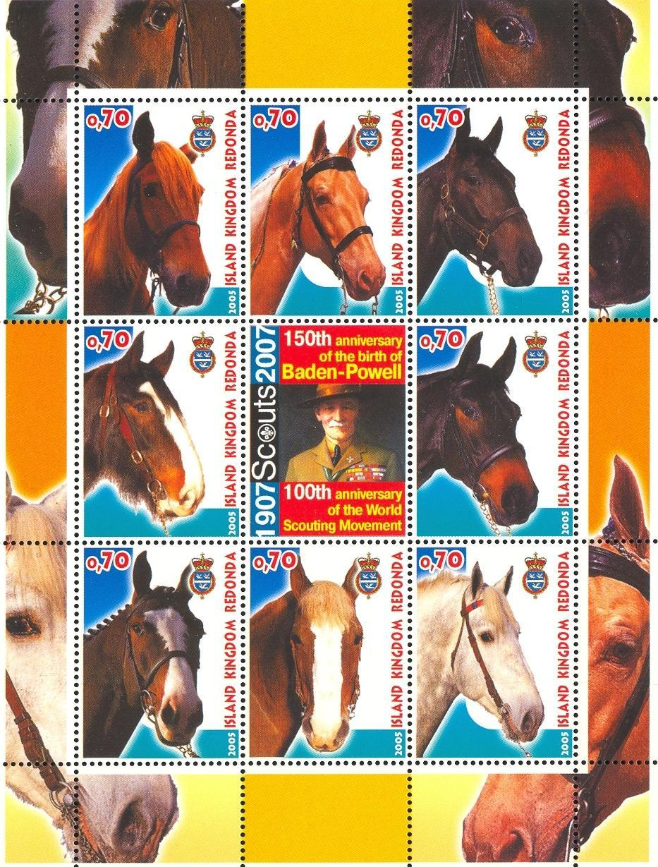 Stamps with Horse, Baden Powell, Scouting from Redonda (image for product #032661)