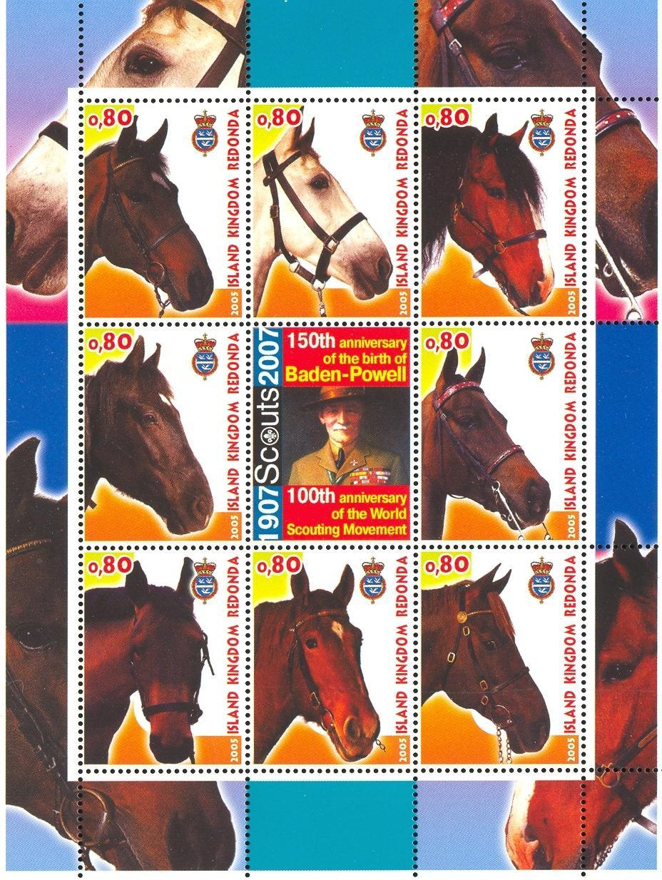 Stamps with Baden Powell, Horse, Scouting from Redonda (image for product #032662)