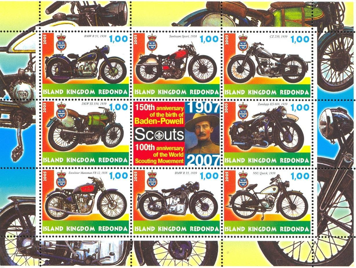 Stamps with Baden Powell, Motorcycle, Scouting from Redonda (image for product #032665)