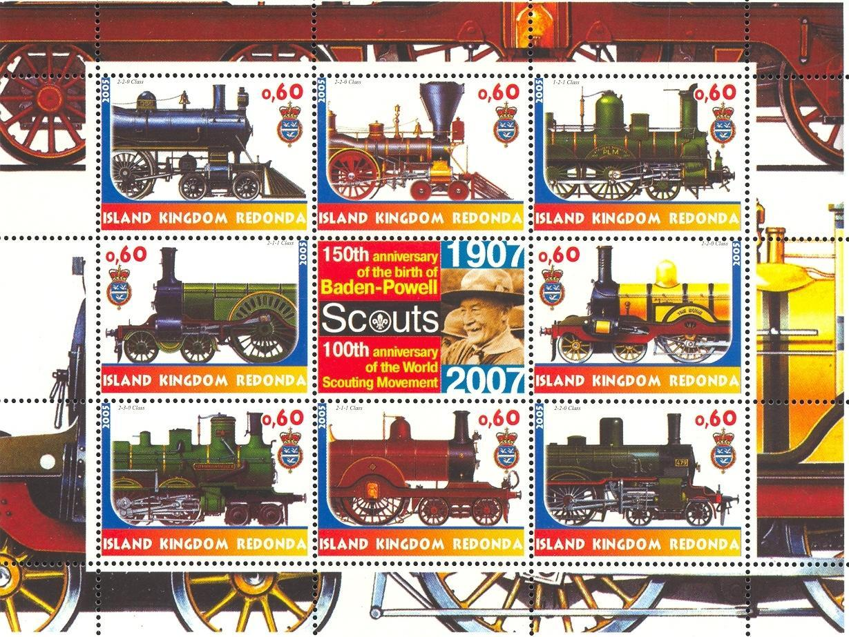 Stamps with Baden Powell, Train / Railway, Scouting from Redonda (image for product #032666)