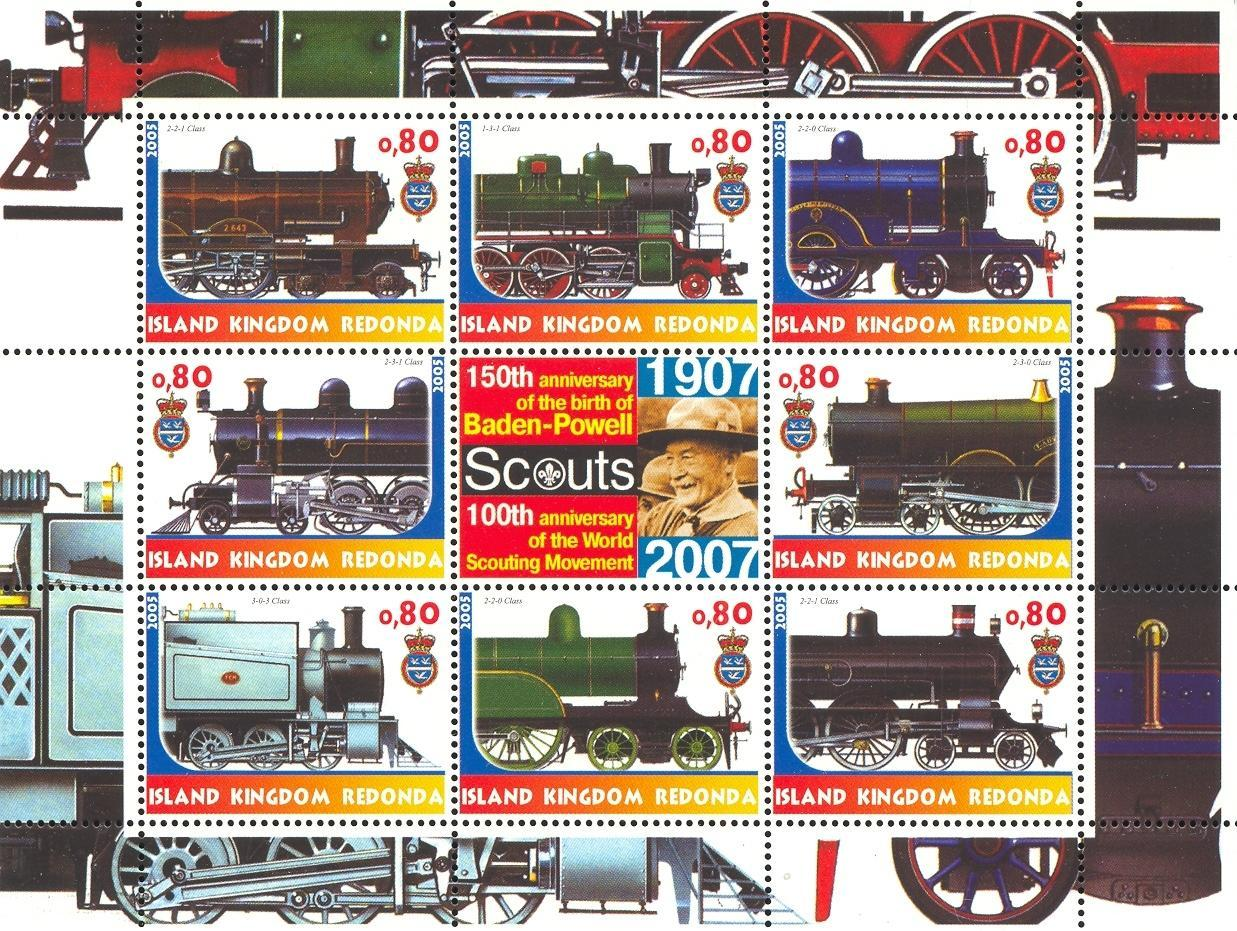 Stamps with Baden Powell, Scouting, Train / Railway from Redonda (image for product #032667)