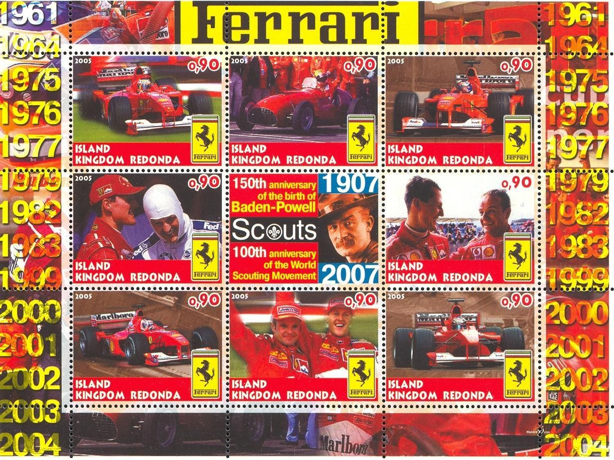 Stamps with Scouting, Ferrari, Racing Cars, Baden Powell from Redonda (image for product #032668)