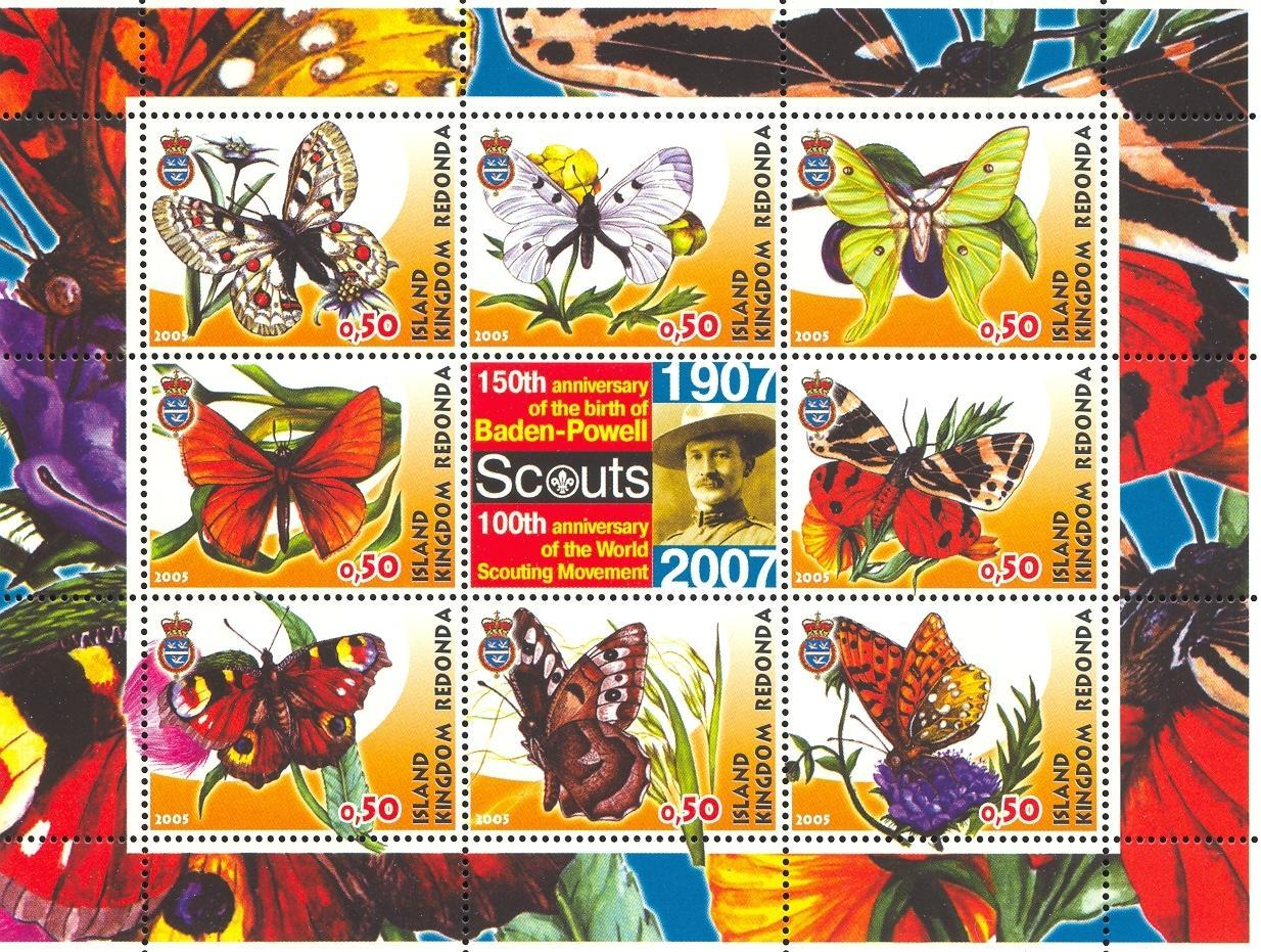 Stamps with Scouting, Butterflies, Baden Powell from Redonda (image for product #032670)