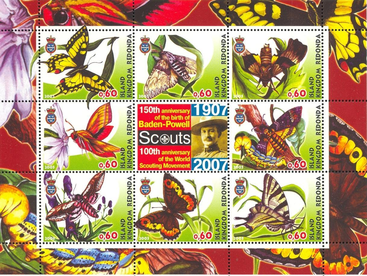 Stamps with Scouting, Butterflies, Baden Powell from Redonda (image for product #032672)
