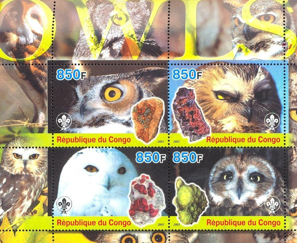 Stamps with Scouting, Minerals, Owl from Congo (non official) (image for product #032675)