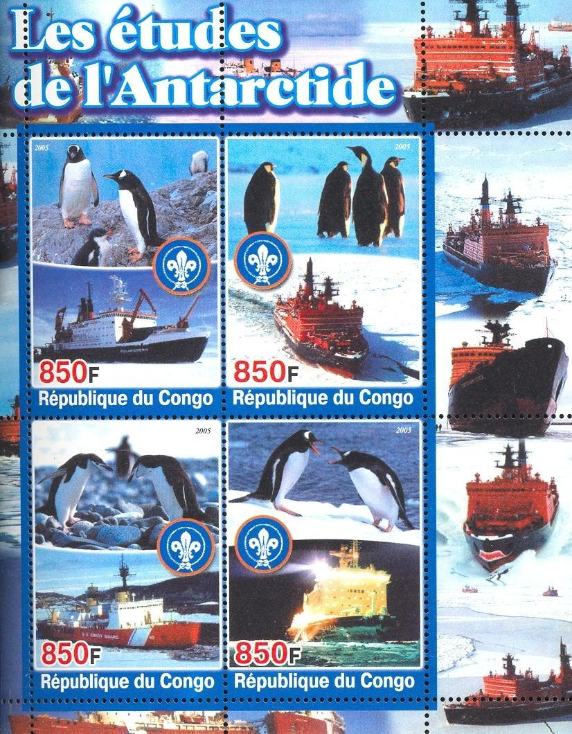 Stamps with Scouting, Ship, Penguin, Antarctics from Congo (non official) (image for product #032678)