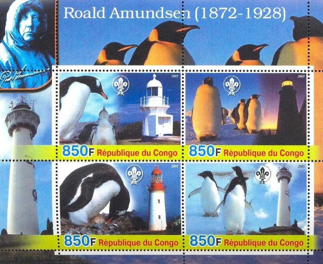 Stamps with Scouting, Explorers, Lighthouse, Penguin from Congo (non official) (image for product #032679)
